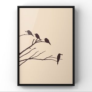 Modern minimalist cute birds abstract art print